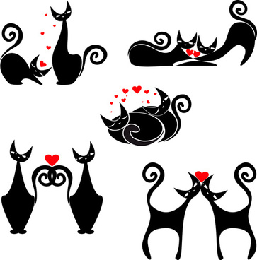 cute kittens vector set