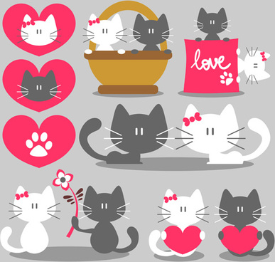 cute kittens with love vectors