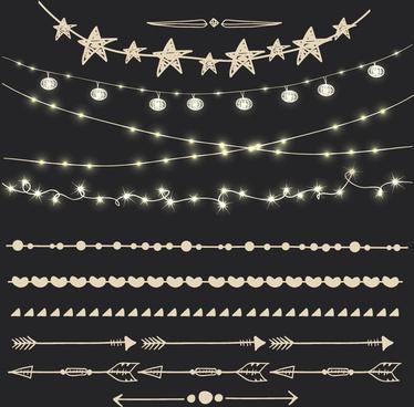 cute lights borders vector set