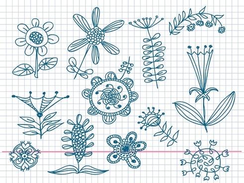 cute little handpainted flowers vector