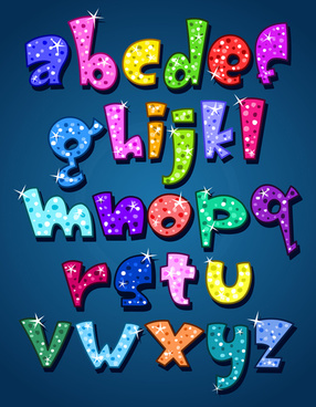 cute lower case shiny vector