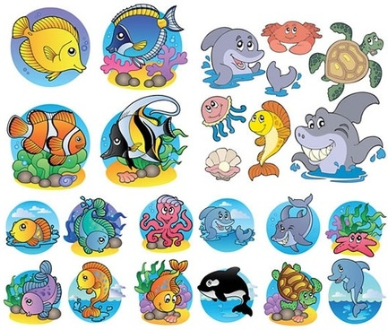 marine species icons cute colored cartoon sketch