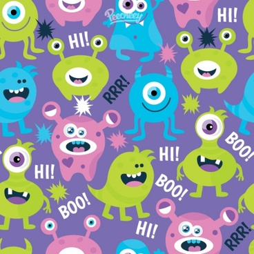 cute monsters seamless background
