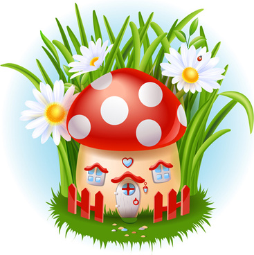 cute mushroom house and white flower vector