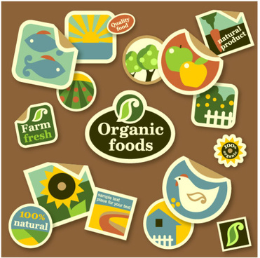 cute organic foods sticker vector