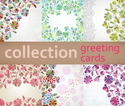 flora card templates colorful petals decor