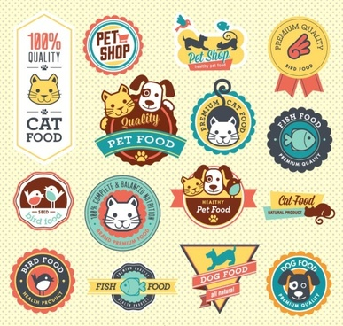 cute pet food labels vector graphics