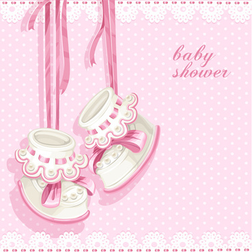 cute pink baby shower card vector