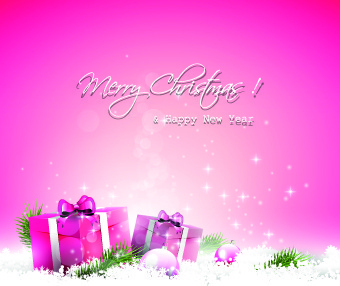 cute pink christmas background vector