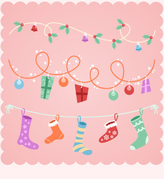 cute pink christmas gift vector background