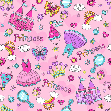 cute princess elements pattern vector