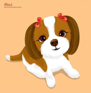 puppy background cute cartoon design