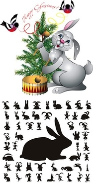 christmas design elements bunnies icons silhouette sketch