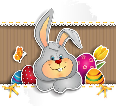 cute rabbit with easter background vector