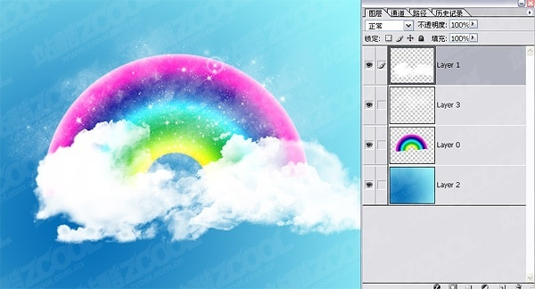 cute rainbow clouds wallpaper psd layered