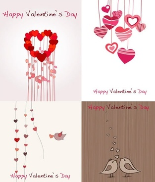 valentines banner templates hearts birds sketch classical design