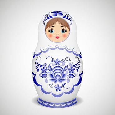 cute russian doll design vectors