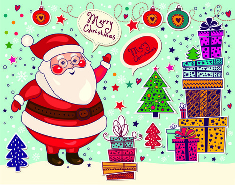 cute santa and christmas ornaments scraps vector
