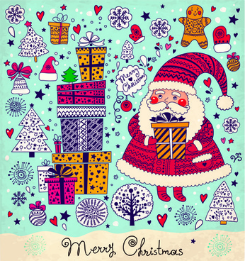 cute santa and christmas ornaments scraps vector