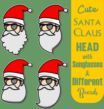 cute santa claus head with differen beards