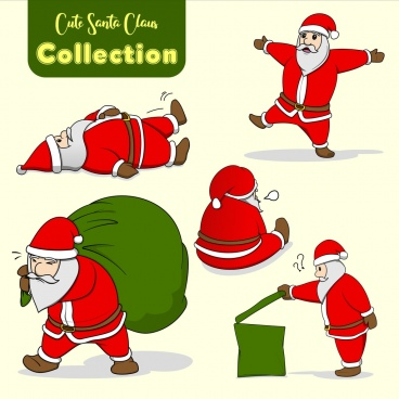 cute santa claus icon character collection