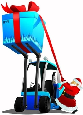 christmas background santa forklift gift icons 3d cartoon