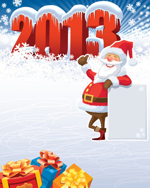 cute santa design elements vector graphics