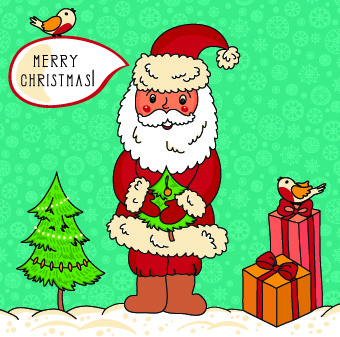 cute santa with bird vector