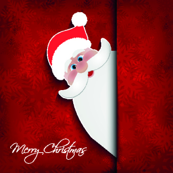 cute santa with red christmas background vector