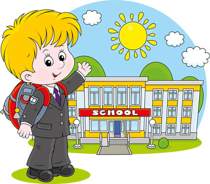 cute school children vectors geaphics set