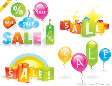 sales banner templates colorful balloon gifts tags decor