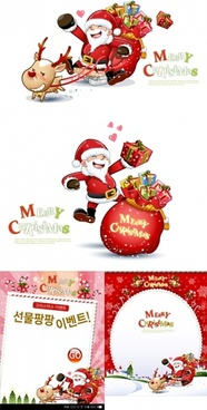 cute snowman and santa claus 03 christmas vector