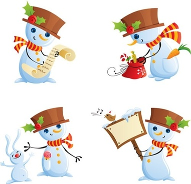 snowman icons cute cartoon sketch