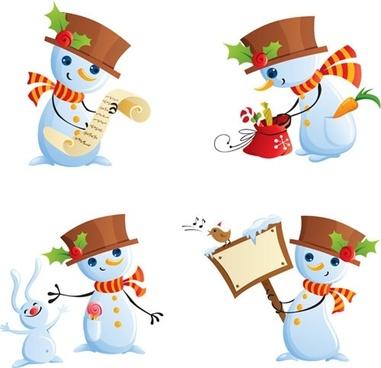 snowman icons cute cartoon sketch