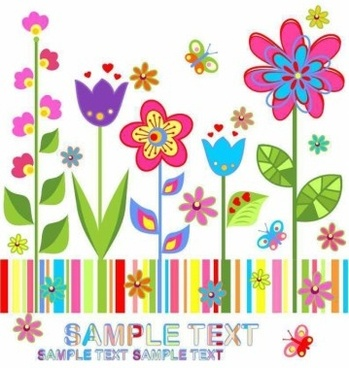 cute spring floral background vector set