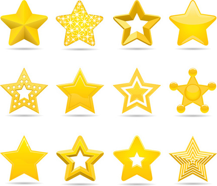 cute stars icons set vector