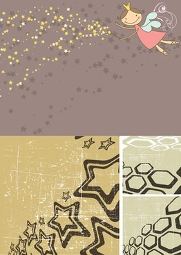 decorative backgrounds fairy stars polygons decor retro design