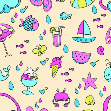 cute summer pattern seamless vector