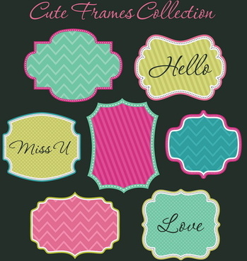 cute sweet frames set vector graphics