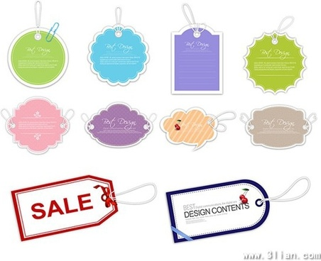 sale tags templates colored classical flat shapes
