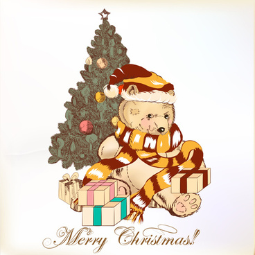 cute teddy bear and christmas tree vector