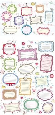 cute texts frames set vector