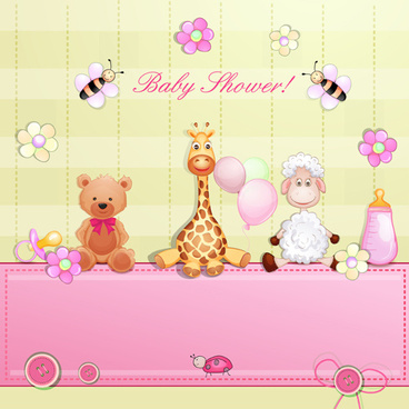 cute toy with baby card vector