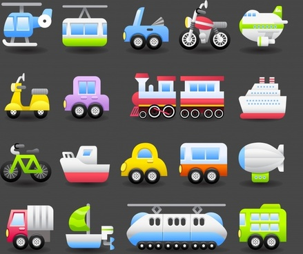 vechicles icons colorful modern flat symbols sketch