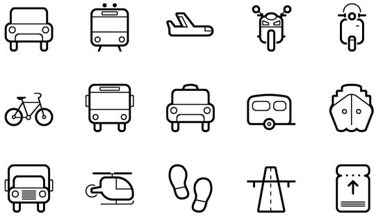 cute transportation outline icons