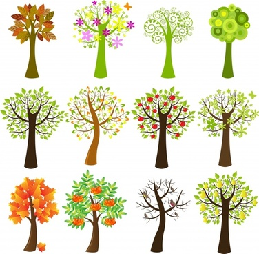 trees icons collection bright colorful handdrawn sketch