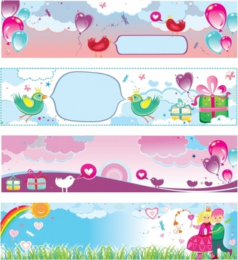 celebration banners cute colorful handdrawn decor horizontal design