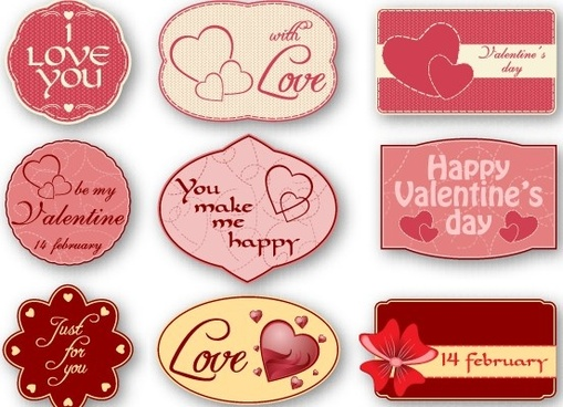 cute valentine labels vector