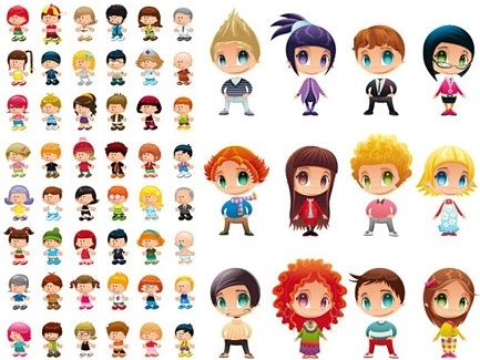 stylish kids characters icons various colored cartoon types