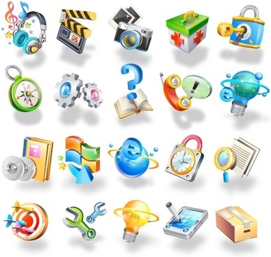 interface icons collection colored 3d style design